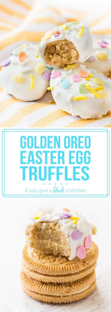 Golden oreo truffles in the shape of Easter eggs are so cute! Love the pastel sprinkles.   no bake recipe on www.ifyougiveablondeakitchen.com