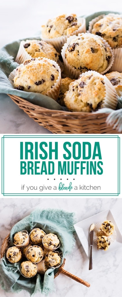 Irish soda bread muffins are a festive breakfast for Saint Patrick's Day! | www.ifyougiveablondeakitchen.com