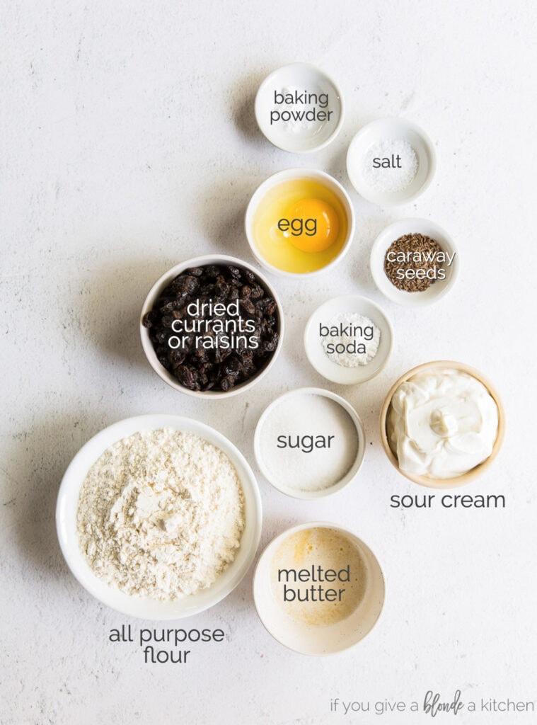 irish soda bread muffin ingredients in bowls
