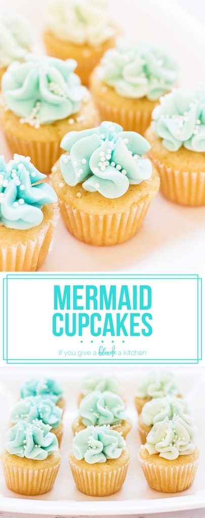 Mermaid cupcakes look like they could be served under the sea with the ombre blue frosting! | www.ifyougiveablondeakitchen.com