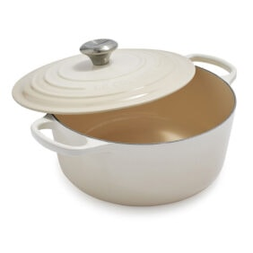 off white enameled dutch oven with lid
