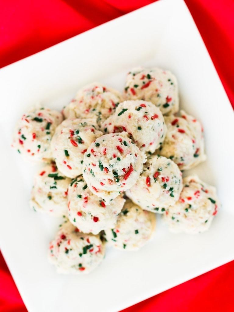 plate of sugar cookie dough balls