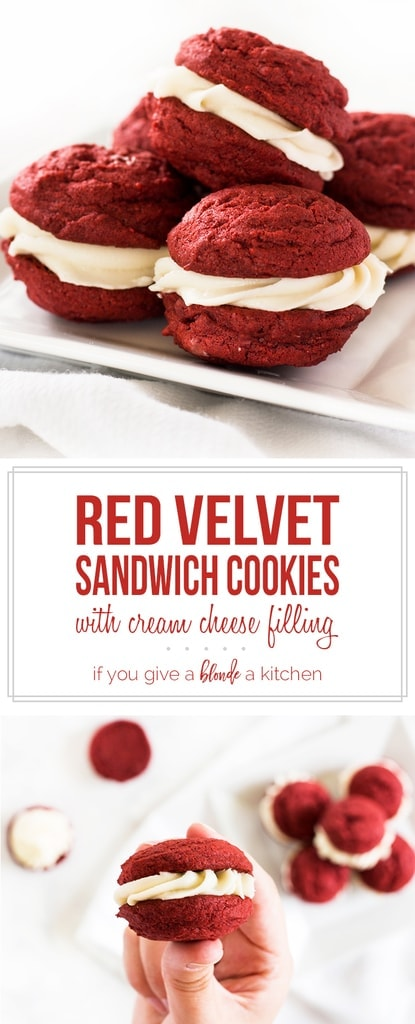 Red velvet sandwich cookies are chewy and filled with cream cheese frosting. Try this dessert recipe for Christmas or Valentine's Day! | www.ifyougiveablondeakitchen.com