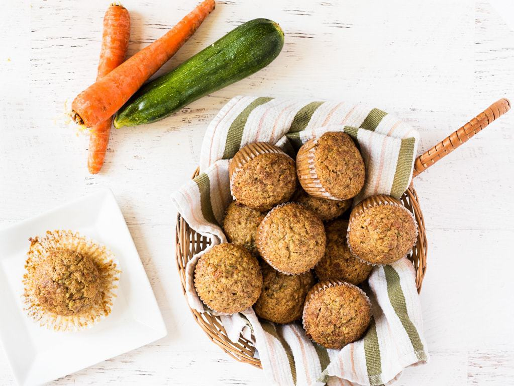 basket of carrot zucchini muffins