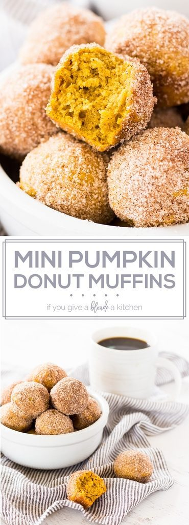 Mini pumpkin donut muffins are made in a mini muffin pan and are coated in cinnamon sugar. The recipe for these bite-sized donut holes is easy to follow! | www.ifyougiveablondeakitchen.com