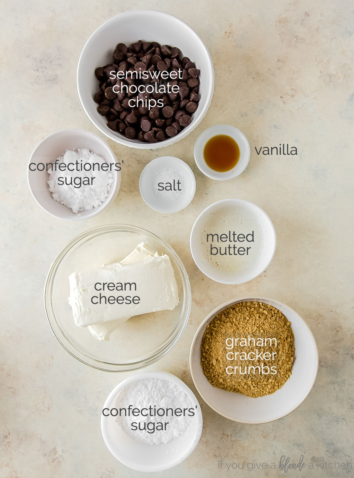 no bake cheesecake ingredients in bowls labeled with text
