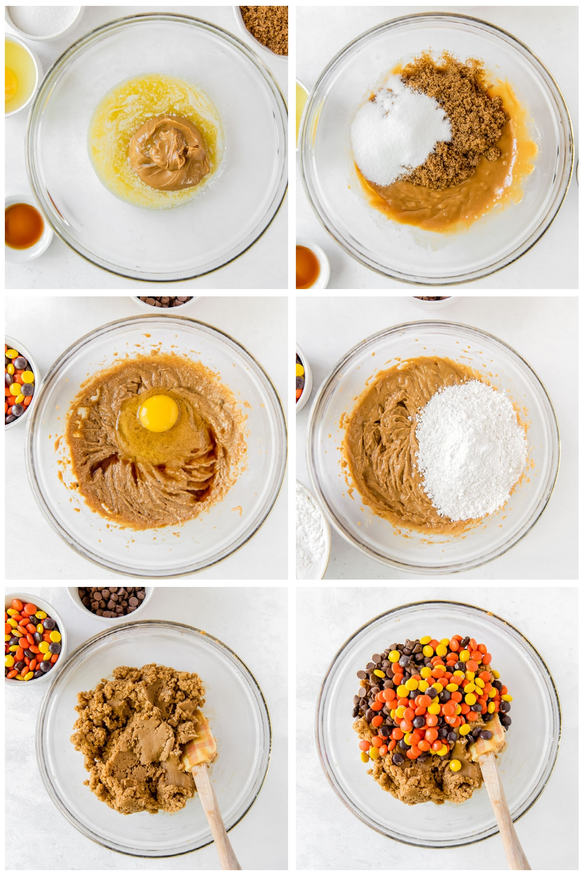 photo collage demonstrating how to make reeses pieces peanut butter blondies in a glass mixing bowl