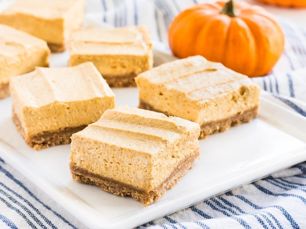 No bake pumpkin cheesecake bars are the best fall dessert. They have all the fall flavors and taste incredible!