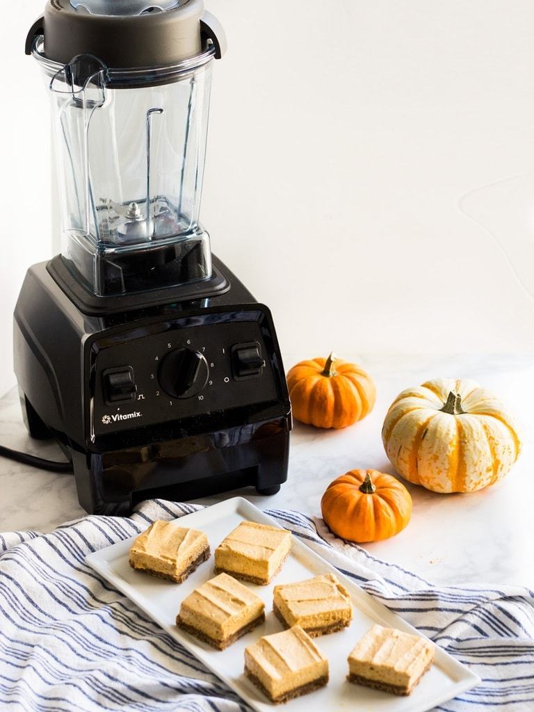 No bake pumpkin cheesecake bars are made in a Vitamix blender for an extra smooth finish.