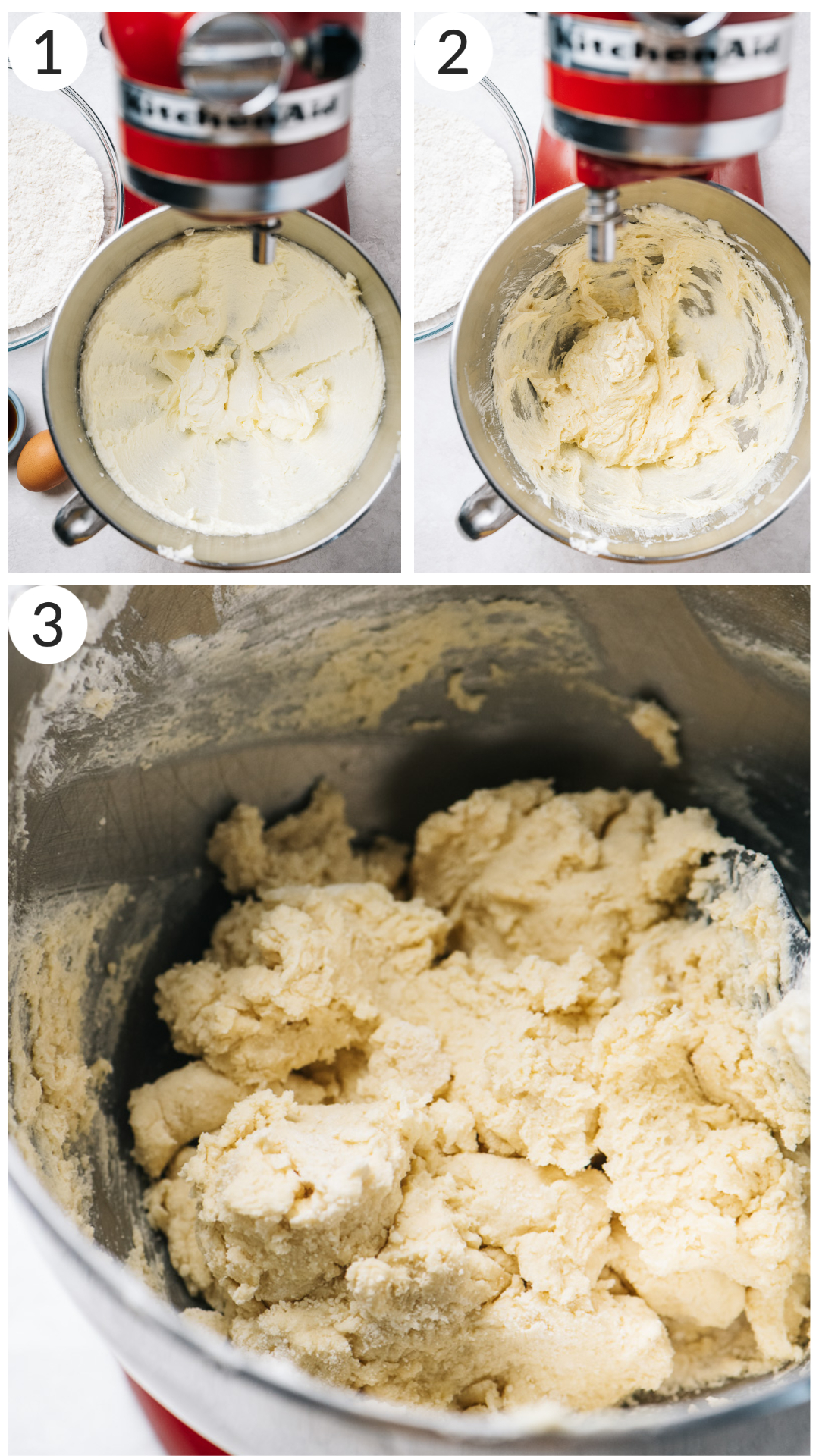 photo collage demonstrating how to make cinnamon roll cookie dough in stand mixer