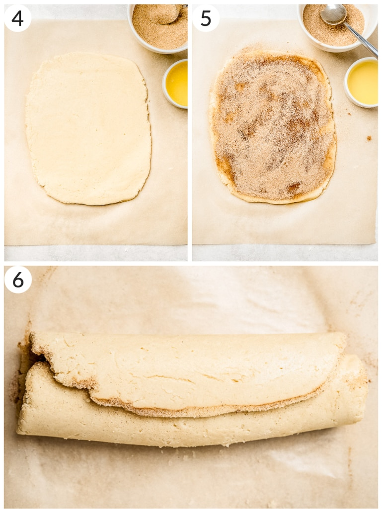 photo collage demonstrating how to roll cinnamon roll cookie dough into log