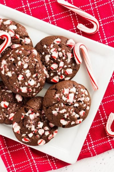 Double chocolate peppermint cookies are delicious. The crushed candy canes taste so good with the chocolate chips. | www.ifyougiveablondeakitchen.com