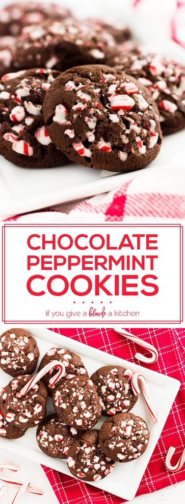 Double chocolate peppermint cookies is a must try recipe for Christmas. These holiday cookies have crushed candy canes and melted chocolate chips. They make a great edible gift! | www.ifyougiveablondeakitchen.com
