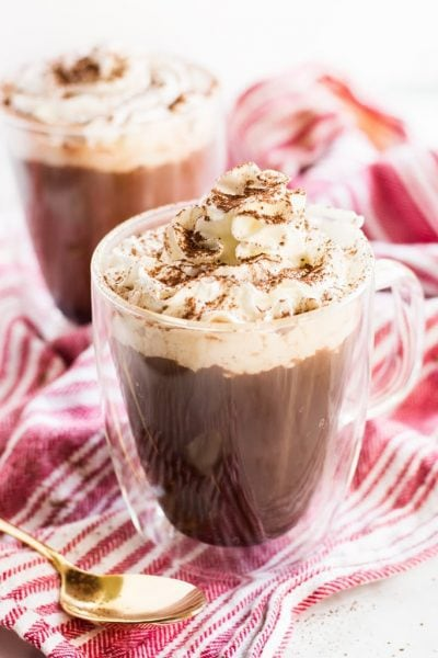 Mocha hot chocolate coffee is the best of both worlds. Caffeine and coffee in one cup topped with whipped cream and cocoa! | www.ifyougiveablondeakitchen.com