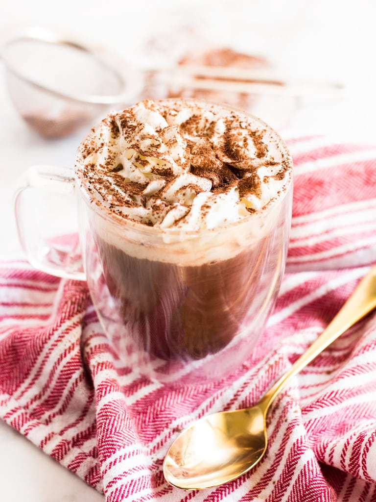 Mocha hot chocolate coffee is a must try drink recipe during the holidays.   www.ifyougiveablondeakitchen.com