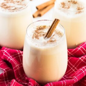 This easy homemade eggnog is perfect for Christmas entertaining. Make it in a Vitamix blender for a deliciously smooth drink! | www.ifyougiveablondeakitchen.com