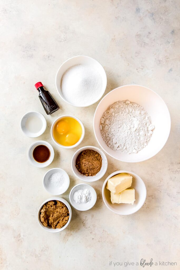 red velvet crinkle cookies ingredients in bowls