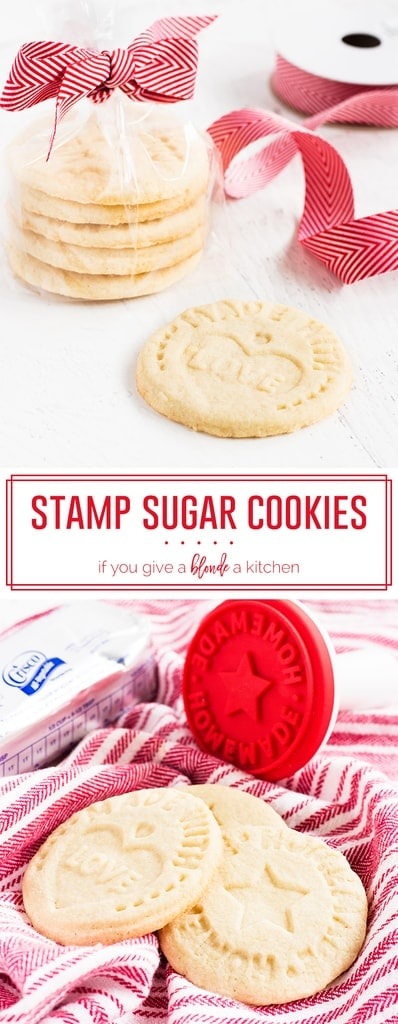 Stamp cookies are made with shortening. The sugar cookies are an easy Christmas recipe and have messages for Santa Claus! | www.ifyougiveablondeakitchen.com