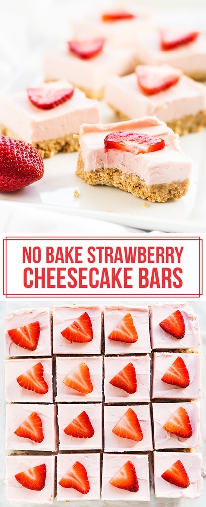 No bake strawberry cheesecake bars pinterest image bite