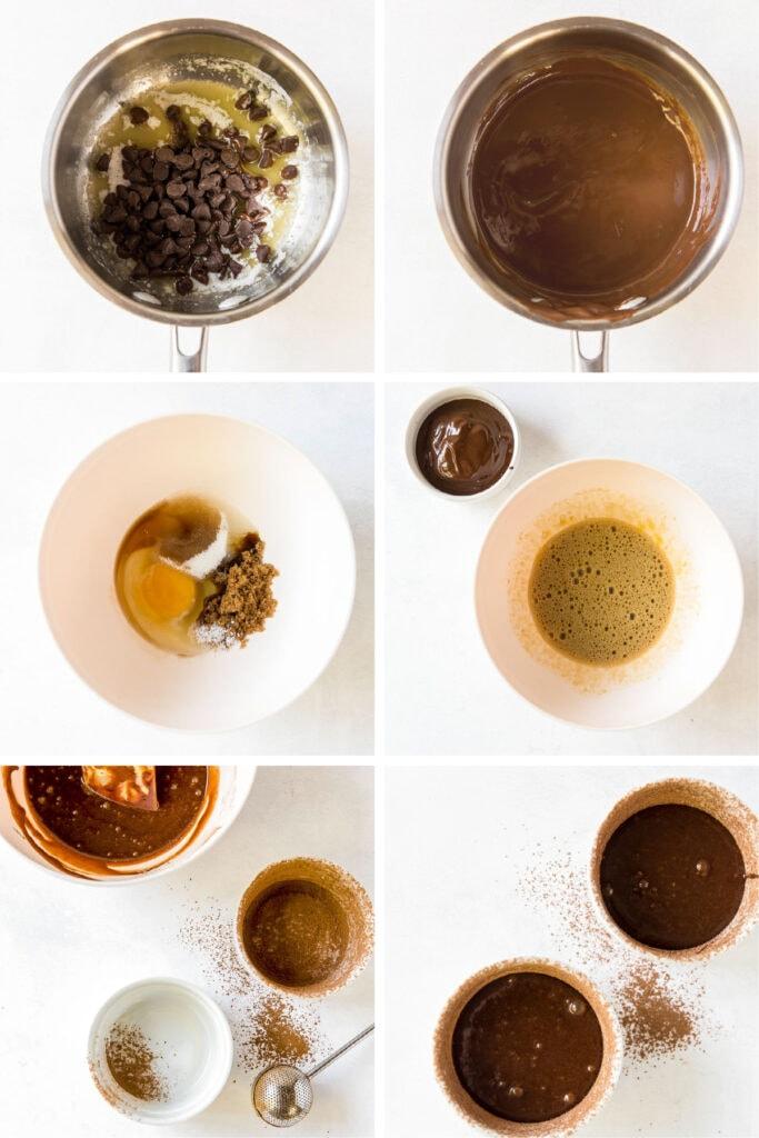 photo collage demonstrating how to make mini flourless chocolate cakes in ramekins
