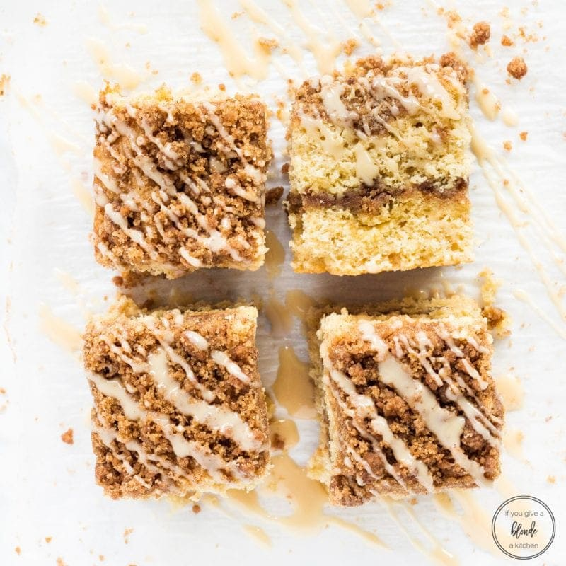 Irish cream coffee cake overhead photo crumble glaze symmetrical