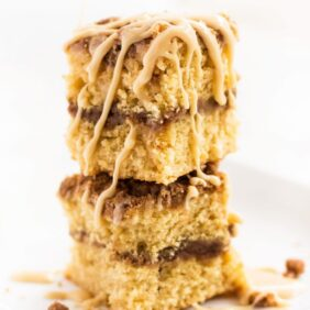 Irish cream coffee cake slices stacked with glaze