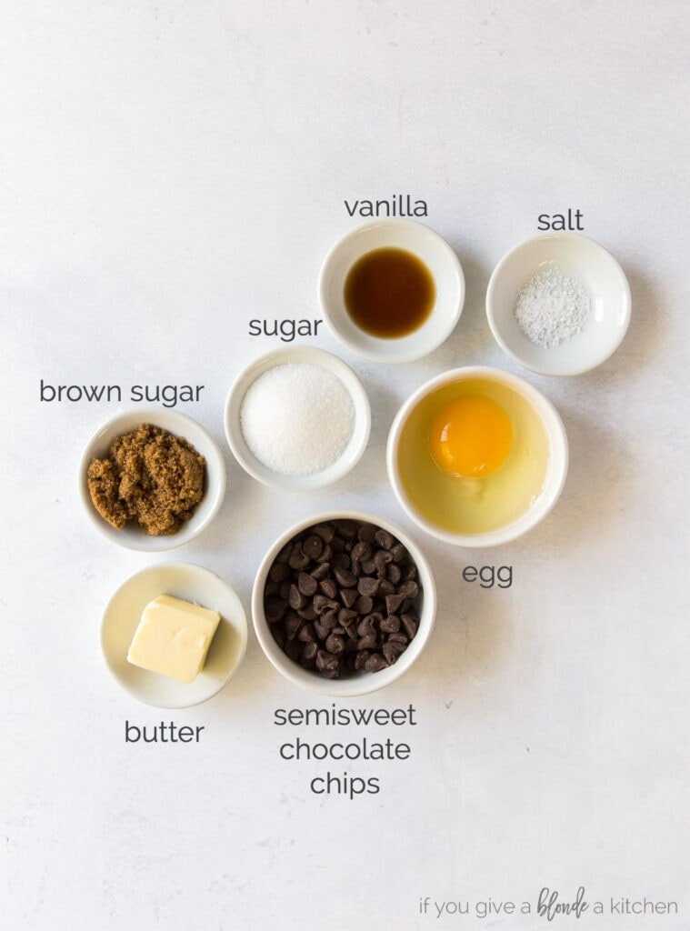 mini flourless chocolate cake ingredients in bowls  labeled