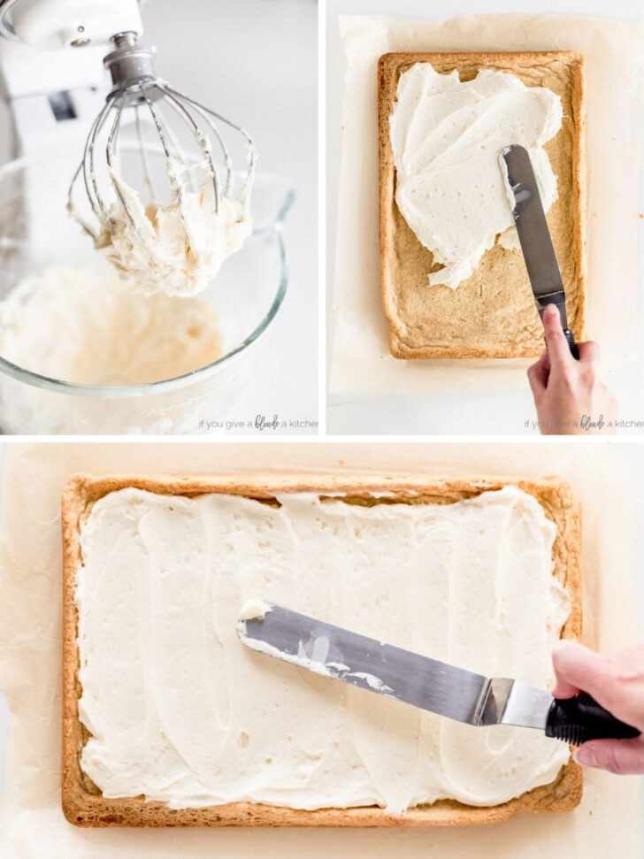 photo collage demonstrating how to make buttercream frosting for sugar cookie bars