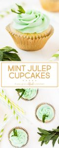 Mint julep cupcakes are the perfect dessert for the Kentucky Derby. Make the recipe using Kentucky Bourbon and crème de menthe liquor for a kick of flavor. The cupcakes taste just like the cocktail! | www.ifyougiveablondeakitchen.com