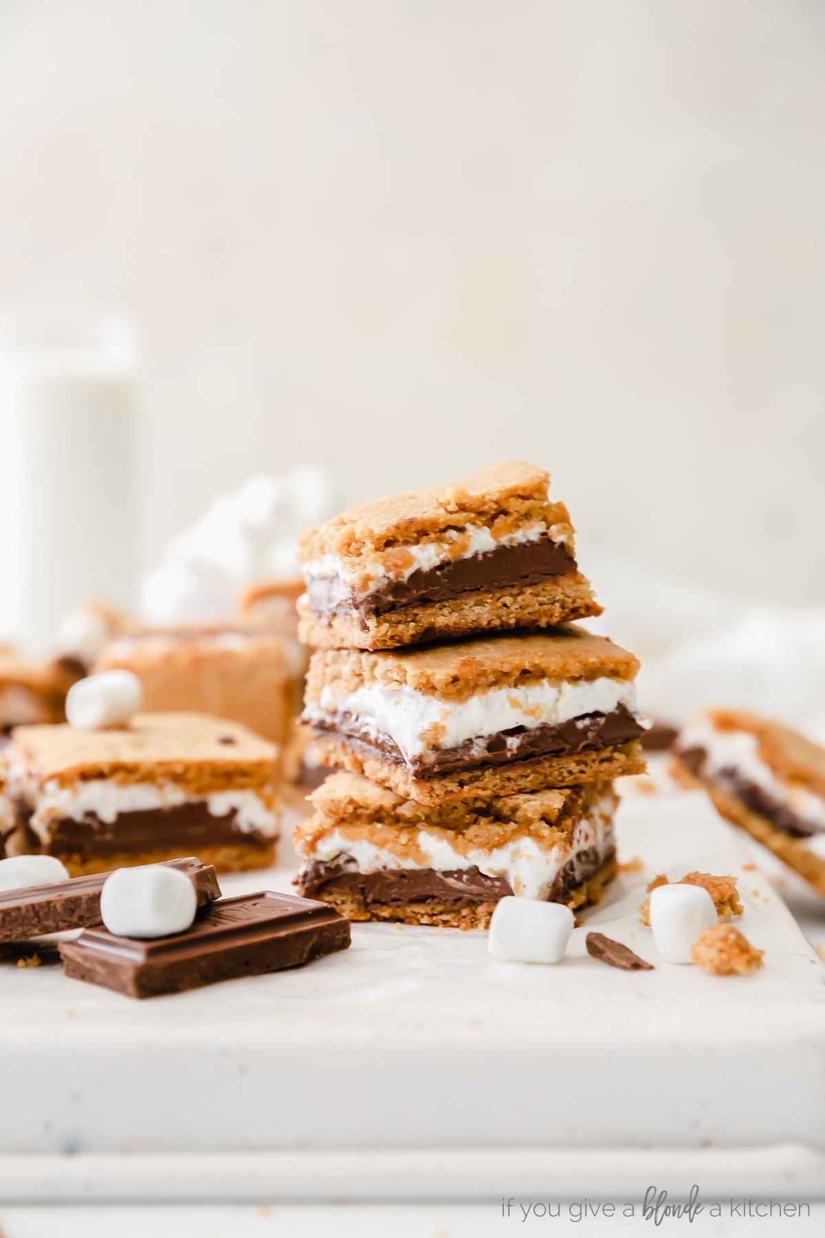 S'mores Bars Recipe one bar stacked on another
