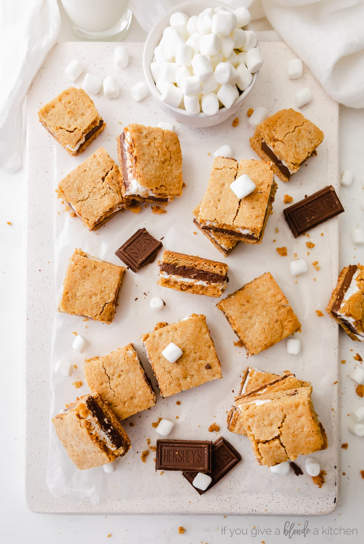 S'mores Bars Recipe graham cracker, chocolate and marshmallow creme layers