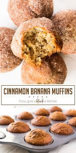Banana cinnamon muffins are easy to make from scratch using this recipe. Each muffins is loaded with mashed bananas and topped with cinnamon sugar. It's a good on-the-go breakfast or afternoon snack! | www.ifyougiveablondeakitchen.com
