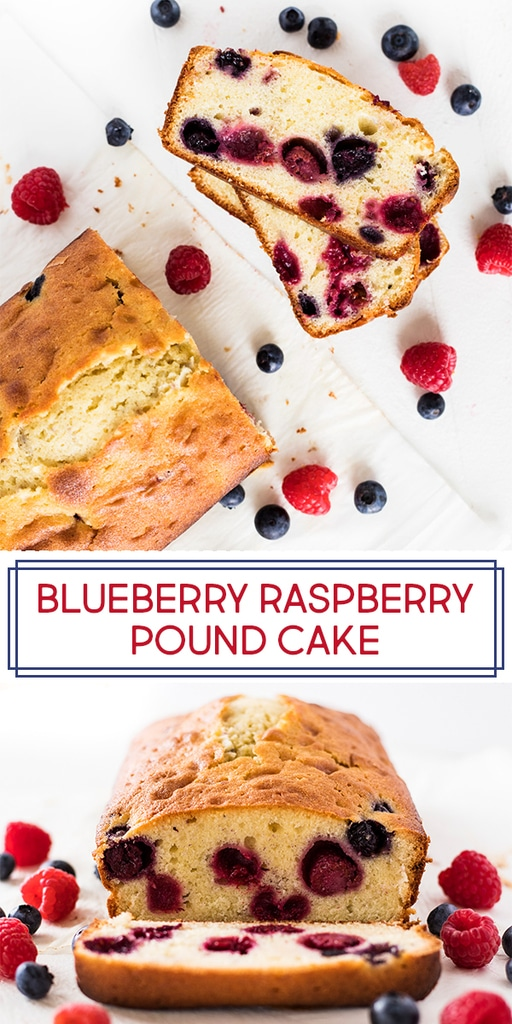 Blueberry raspberry pound cake is made with fresh summer berries for a delicious dessert. The recipe calls for cream cheese and butter for a rich, moist pound cake. Try the cake for Fourth of July or Memorial Day with the red and blue berries! | www.ifyougiveablondeakitchen.com