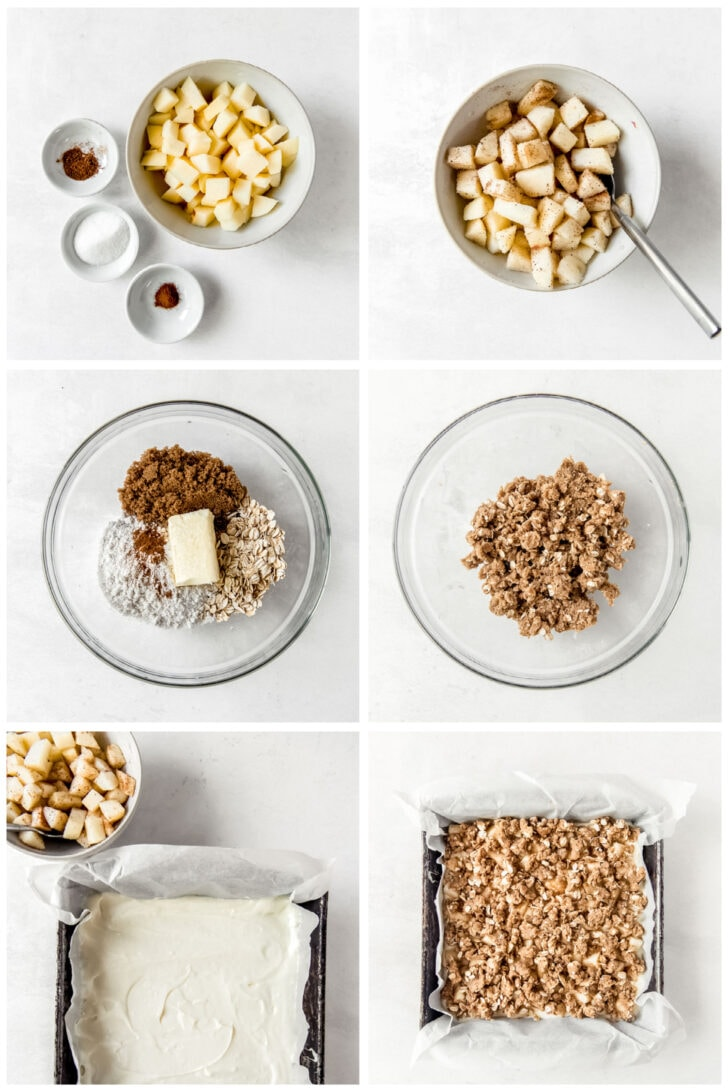 photo collage demonstrating how to make apple filling and streusel topping for apple cheesecake bars