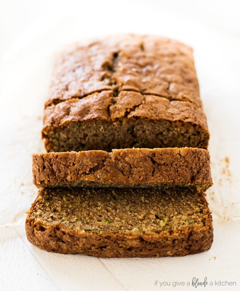 moist zucchini bread slices from loaf