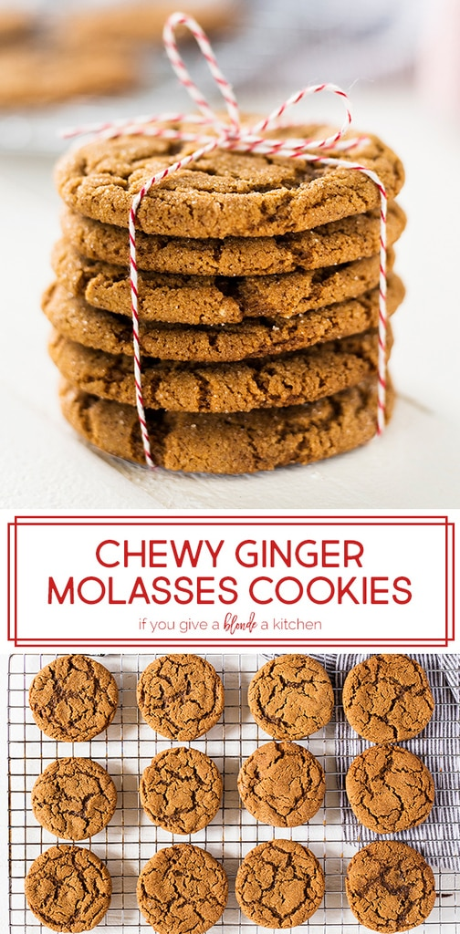 Chewy ginger molasses cookies are made with brown sugar, cinnamon, nutmeg and ginger. They have a sugar crinkle top that is irresistible. Try the recipe for Christmas and the holiday season! | www.ifyougiveablondeakitchen.com