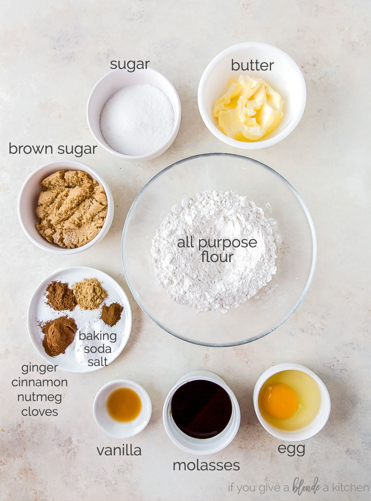 ginger molasses cookie ingredients in bowls labeled with text