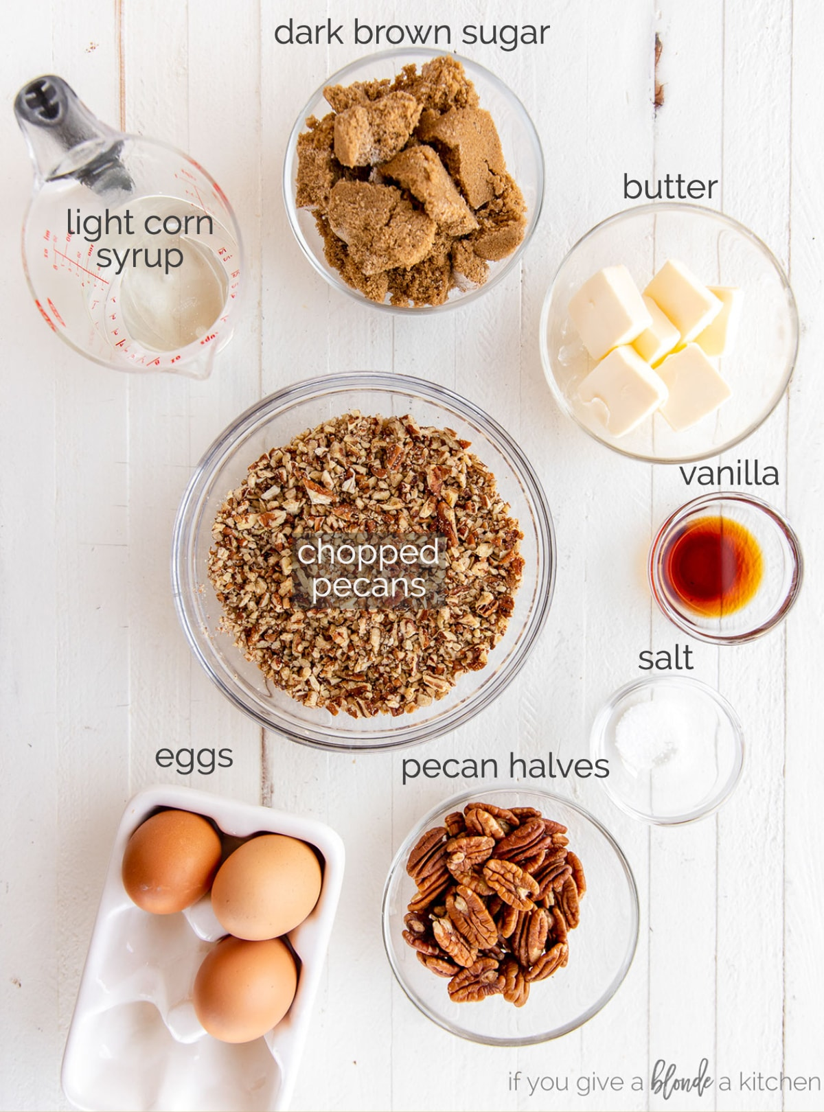 pecan pie ingredients in bowls labeled with text