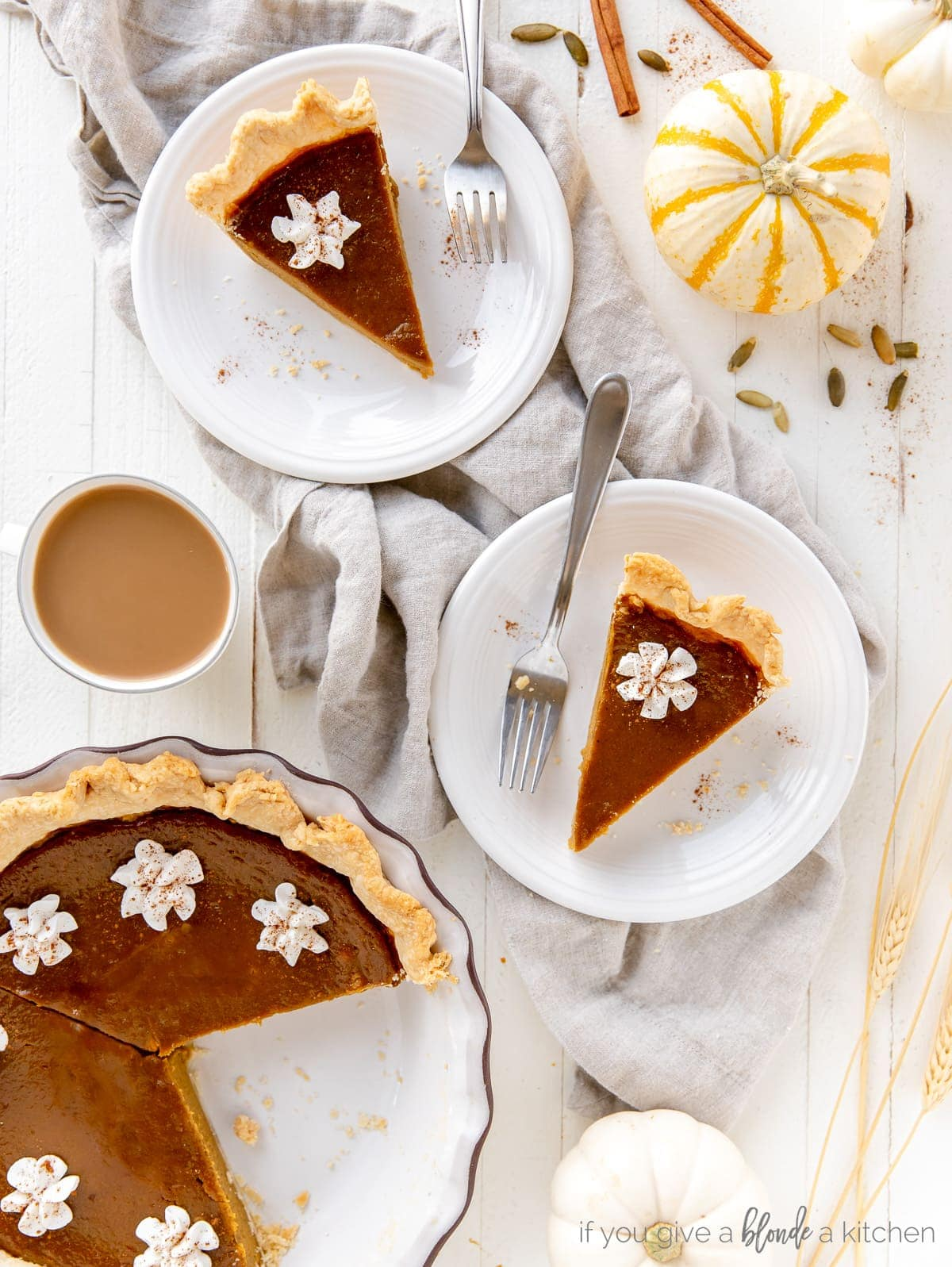 pumpkin pie slices on round plates with forks next to pie plate with remaining pie