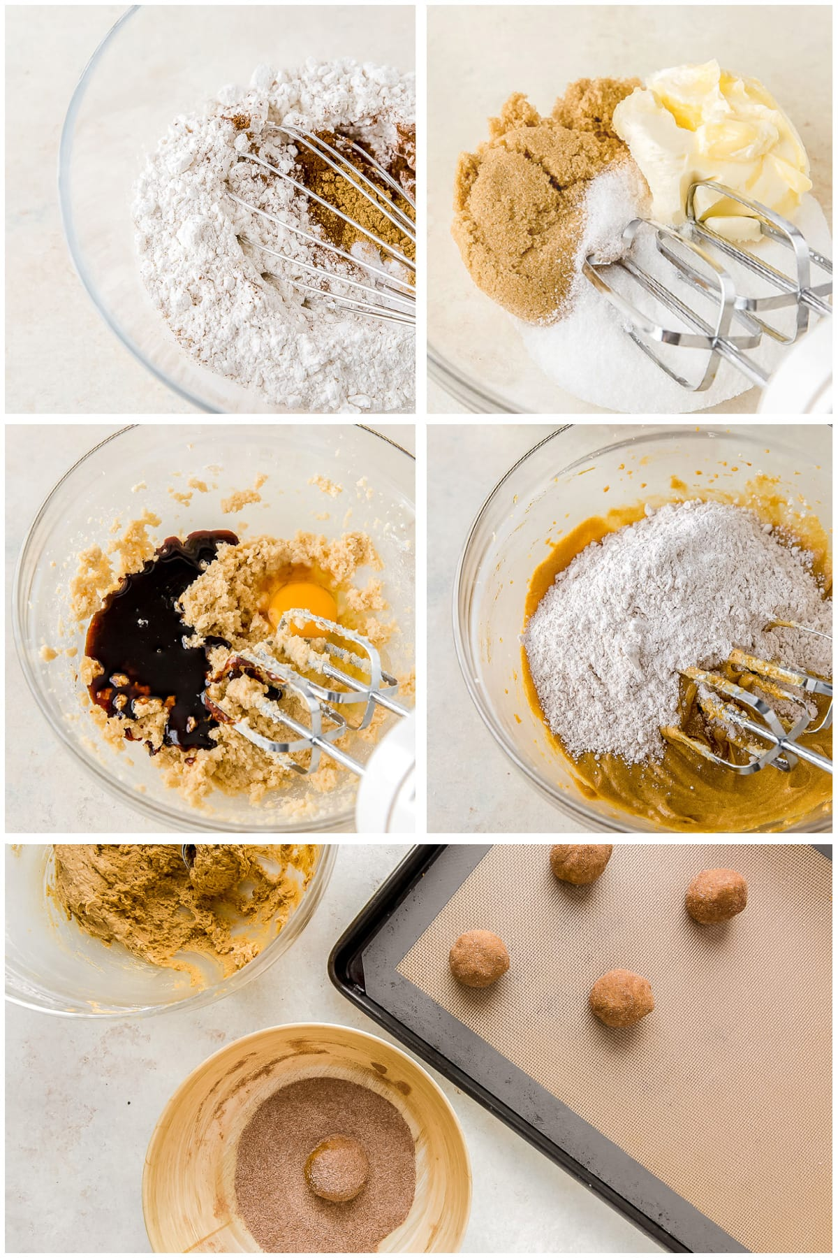 photo collage demonstrating how to make ginger molasses cookies in a mixing bowl with hand mixer