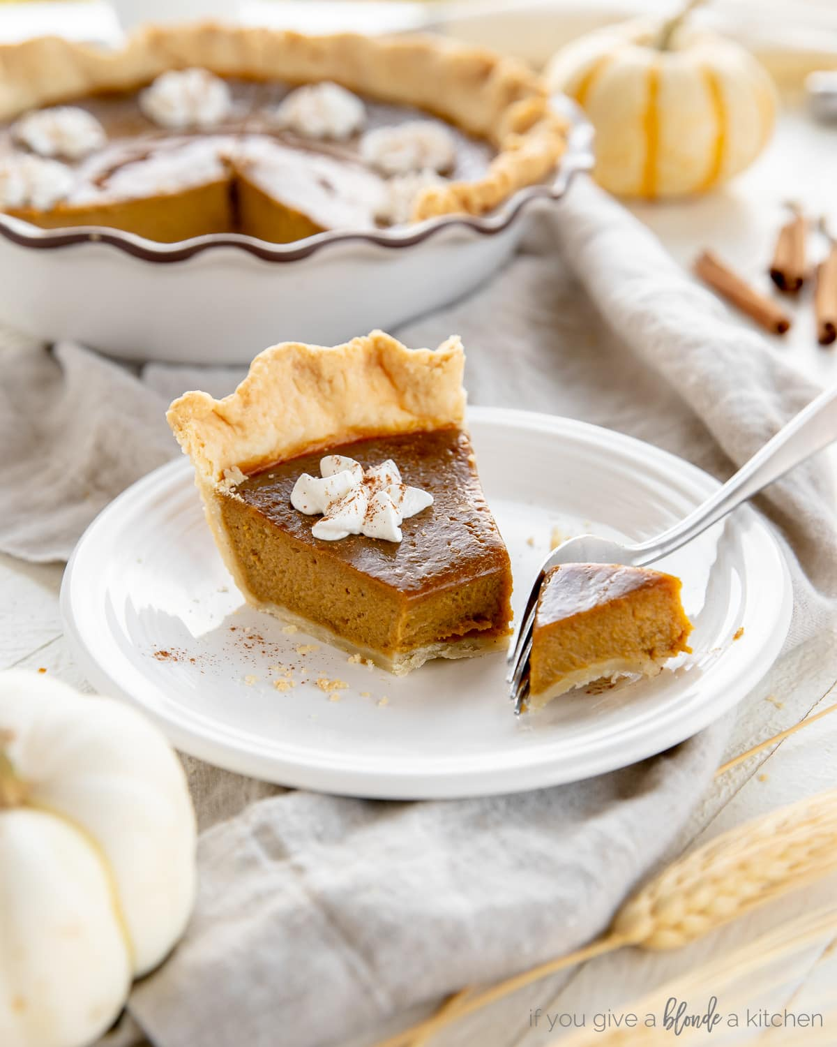 slice of pumpkin pie on plate with fork taking a bite