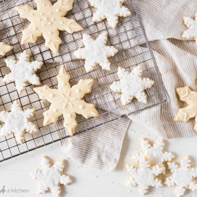 snowflake sugar cookies royal icing cooling rack