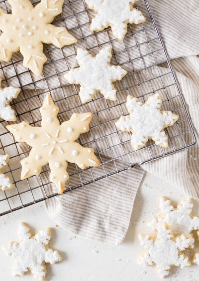 snowflake sugar cookies royal icing cooling rack
