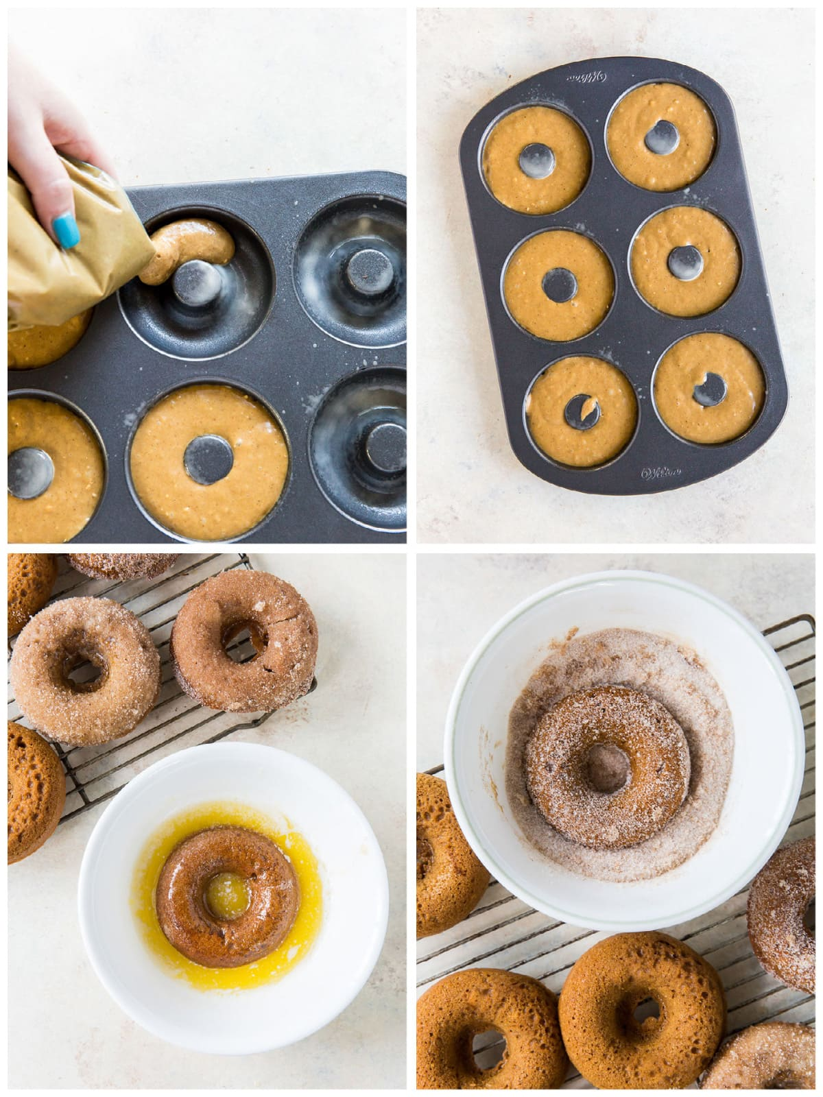 photo collage demonstrating how to make donuts in donut tin and coat donuts in cinnamon sugar