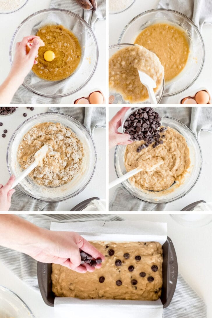 photo collage demonstrating how to make chocolate chip banana bread in a mixing bowl