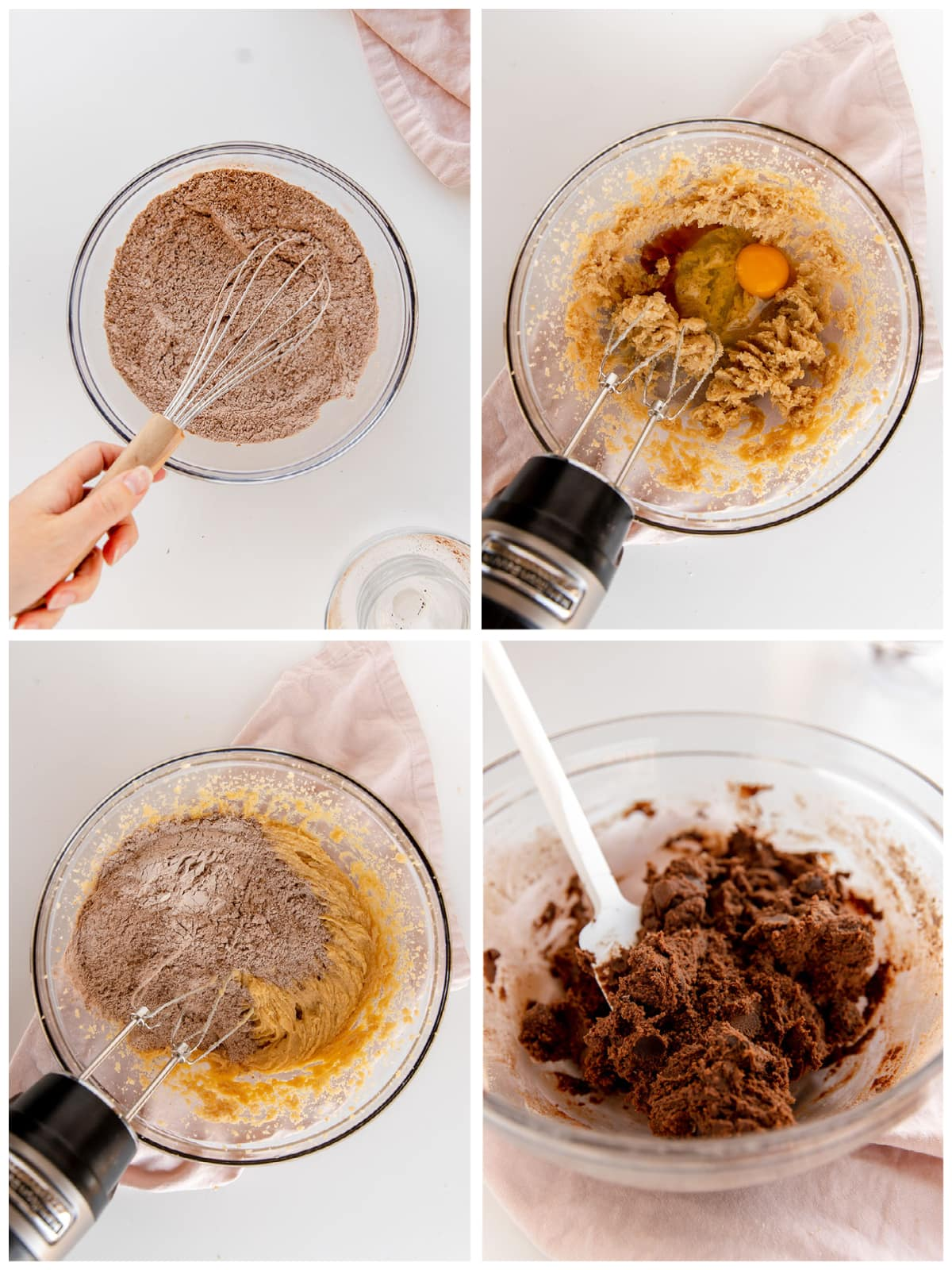 photo collage demonstrating how to make double chocolate chip cookie dough in a bowl with a hand mixer