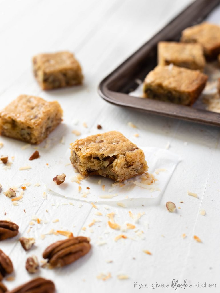 pecan coconut blondies with bite, cookie sheet with square bars