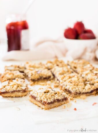 Strawberry Oat Bars with Almond Crumble