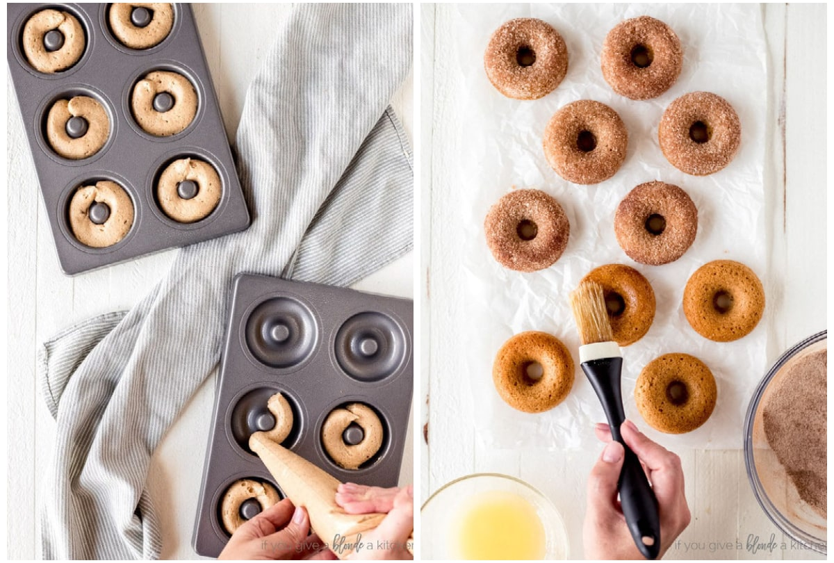 photo collage demonstrating how to fill donut pan with batter and how to brush donuts with butter