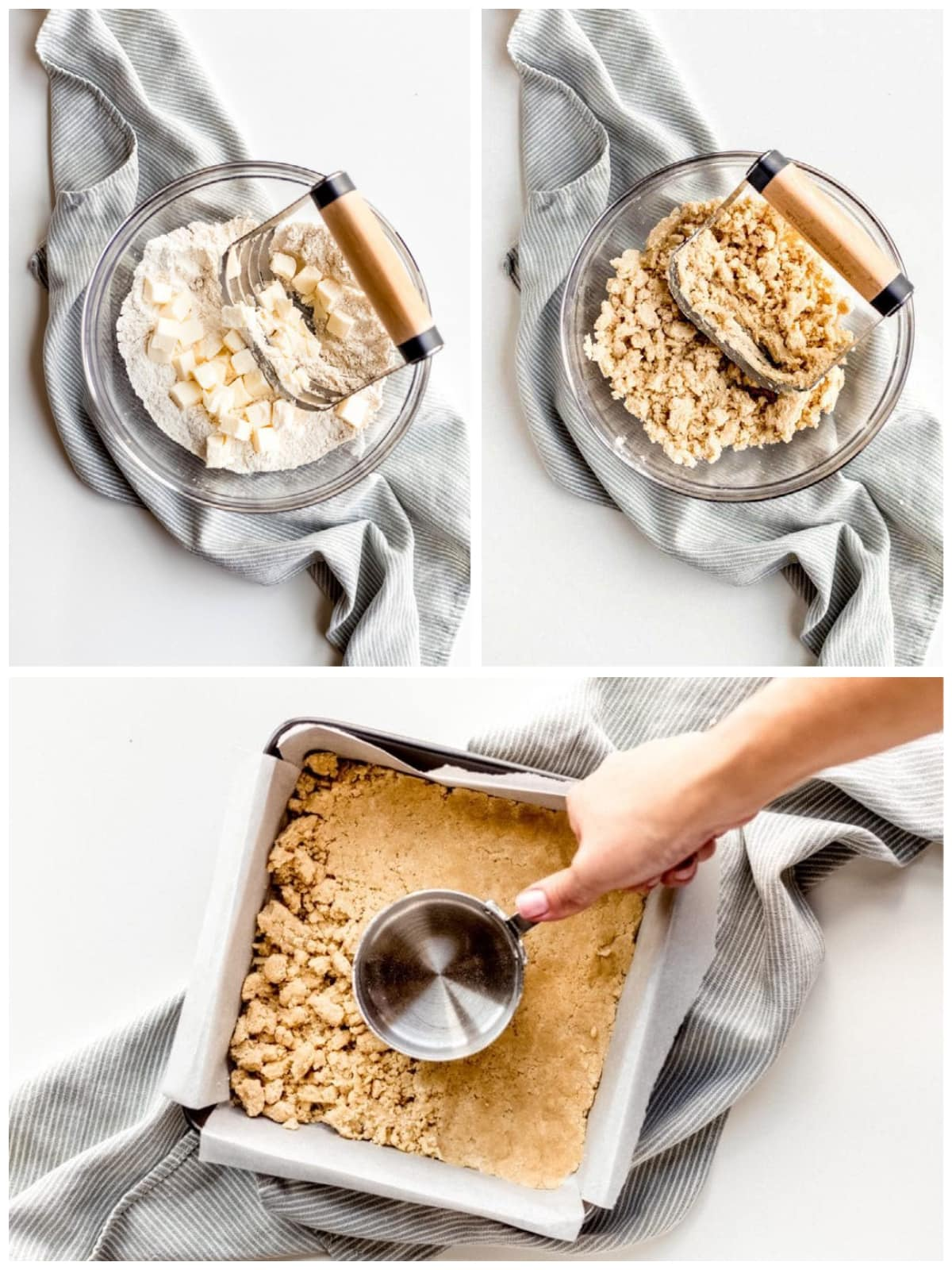 photo collage demonstrating how to make brown sugar shortbread crust